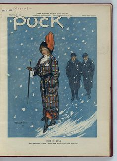 """""""Now I know what became of my new bathrobe,"""" Puck Magazine Cover, January 1912. From LOC Prints and"""
