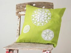 Bright green and white Pillow Cover With Crocheted Doily Applique OOAK decorative accent cushion