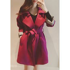 Stylish Turn-Down Collar Long Sleeve Spliced Belted Women's Trench Coat