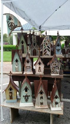 A birdhouse or two . . . displayed in Cary, NC by Recycling is for the birds!