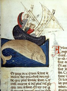 Bestiaire d'Amour: Whale and Sailors – Diving fish is next to two masted, tilted ship in which are four men | Bestiary | Northern Italy | ca. 1290 | The Morgan Library & Museum