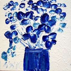 Blue vase-Original Minnesota-American made fine art. Buy high quality American art from American artist Luiza Vizoli. Large Painting, Texture Painting, Oil Painting On Canvas, Canvas Art, Blue Flowers Bouquet, White And Blue Flowers, Colorful Paintings, American Art, Original Paintings