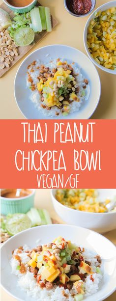 Thai Peanut Chickpea Bowl (Vegan + Gluten Free) - A bright and spicy bowl loaded with roasted chickpeas and topped with a bright fresh mango peach salsa. A wonderful filling plant-based meal that isn't too heavy.