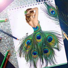 Robe en plumes de paon Kristina Webb