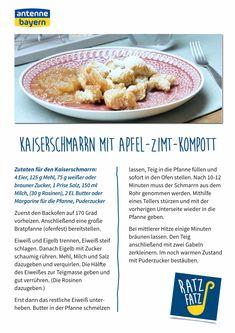 Kaiserschmarrn mit Apfel-Zimt-Kompott   ANTENNE BAYERN Oatmeal, Breakfast, Food, Kaiserschmarrn, Brown Sugar, Creative Food, Cinnamon, Apple, The Oatmeal