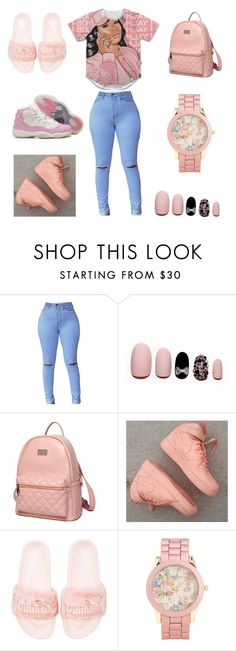 """""""my hotline"""" by aleisharodriguez ❤ liked on Polyvore featuring Static Nails, Princess Carousel, NIKE, Puma and Aéropostale"""