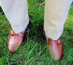 Poplin trousers, OTC socks, Buckle loafers in saddle leather.