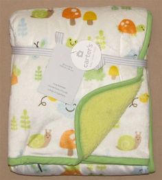 Carters White Snail Mushroom Frog Bee Cloud Baby Blanket Plush Infant Crib New #Carters