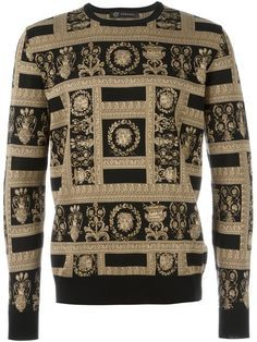 Versace Medusa Panel Pullover Sweater In Black Versace Fashion, Versace Men, Gianni Versace, Mens Designer Sweatshirts, Versace Leather Jacket, Versace Furniture, Mens Fashion, Fashion Outfits, Vogue
