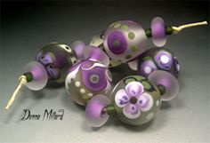 SRA HANDMADE LAMPWORK Bead Set Donna Millard glass lamp work green purple lavender orchid grey