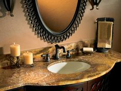 Rich swirls and variations make granite a luxurious choice in the bath. The durable stone resists stains and lasts for years. Photo courtesy of Arizona Tile
