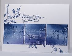 Heather Telford: I stamped the rectangular panel with the music background stamp in versamark and embossed in clear ep. I did not get complete coverage with the embossing which ended up working just fine as the effect is 'collagy' and 'vintagy'. I then sponged with three colours and stamped the winter scroll over the sponging and across the card base also.