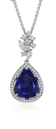 Pear-Shaped Tanzanite and Diamond Pendant in 18k White Gold   Blue Nile Holiday Gift Guide