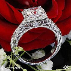 Verragio Princess Halo Twist Diamond Engagement Ring