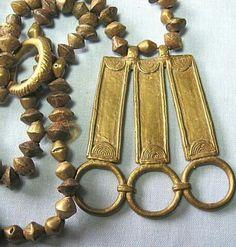 Ghana brass beads and lost wax cast brass pendant.