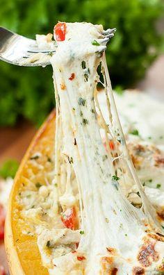 Cheesy Pesto Chicken Lasagna Stuffed Spaghetti Squash :: Hellooo delicious!