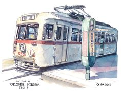 """I like old trams so I went to do some watercolour painting at the Omoide Hiroba - a small park with two old tram cars. Because it was really hot I painted this one as fast as I could using simple lines and colours."" by Mateusz Urbanowicz. Technical stuff: Medium: VIFART watercolour paper 242 g/m Rough Colours: HOLBEIN tube watercolours Lines: Copic Multiliner SP 0.5 and 0.7mm"