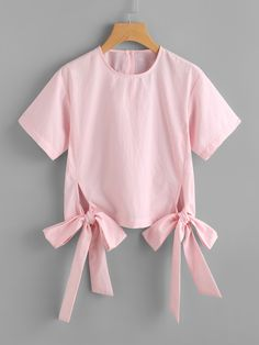SheIn offers Bow Tie Hem Blouse & more to fit your fashionable needs. Girls Fashion Clothes, Teen Fashion Outfits, Trendy Outfits, Kids Outfits, Girl Fashion, Stylish Tops, Stylish Dresses, Diy Kids Shirts, Baby Frocks Designs