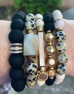 Chunky Elastic Bracelet, Gemstone Bracelet, Boho Jewelry, Dalmatian Be… Bracelets Diy, Gemstone Bracelets, Handmade Bracelets, Bracelet Set, Gemstone Jewelry, Colorful Bracelets, Stacking Bracelets, Silver Bracelets, Couple Bracelets