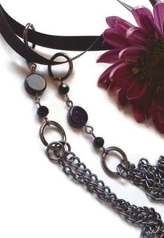 Starry Night Chain and Ribbon Necklace by PinkCupcakeJC on Etsy, $15.00