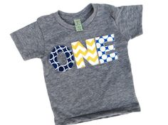 1st Birthday Shirt ONE shirt with navy, blue, yellow for boys 1st Birthday Shirt on Etsy, $26.00