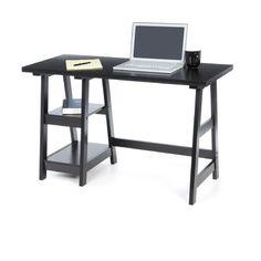 Convenience Concepts Trestle Writing Desk with 2 Shelves Modern Contemporary Homes, Contemporary Interior Design, Home Office Desks, Home Office Furniture, Office Set, Rustic Furniture, Open Shelving, Shelves, Desk Essentials
