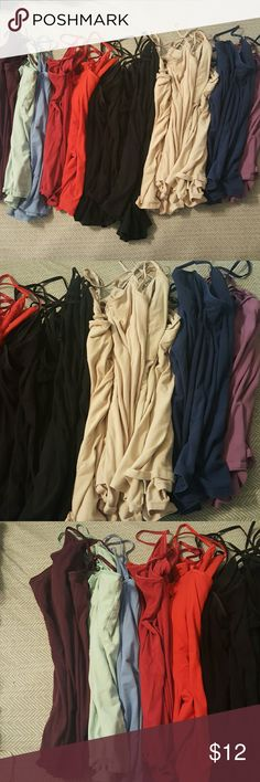 Camis, 6 for $13 Camis with built in shelf bra, all from Mossimo size XL. All in used but great condition, no stains or holes. 6 camis for $13. Price is firm. UPDATED: second picture shows what's still available: two black, two tan, one red, one light green.  Go ahead and purchase this listing if you like what is left. Mossimo Supply Co. Tops Camisoles