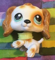 Littlest Pet Shop RARE Cocker Spaniel Dog 344 Tan White Green Eyes LPS | eBay