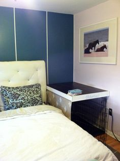Awesome idea. Turn the dog crate into a nightstand by putting it in the corner next to the bed.