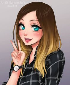Kai Fine Art is an art website, shows painting and illustration works all over the world. Cute Girl Drawing, Cartoon Girl Drawing, Cartoon Drawings, Cartoon Art, Anime Disney Princess, Disney Art, Photo Manga, Cute Cartoon Girl, Girly Drawings