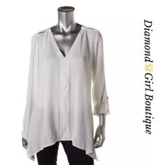 ☀️Summer Sale☀️ NY Collection white Crepe V- Neck Soft pretty white pullover top in polyester features adjustable sleeves and gold chain detailing, great over skinny jeans or wear to work black pants Tops Blouses