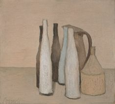 In most still life paintings, we see some table because we're looking down. The table edge is behind the objects. Giorgio Morandi (Italian, Still Life (Natura morta), 1951 Still Life Drawing, Painting Still Life, Paintings I Love, Italian Painters, Italian Artist, Illustrations, Illustration Art, Guggenheim Bilbao, Simple Subject