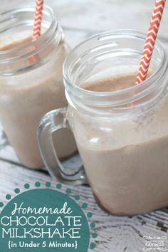 Easy Homemade Chocolate Milkshake Recipe: 1/2 C. milk, 2 Tbsp. chocolate syrup, 3 scoops of vanilla ice cream. Blend.