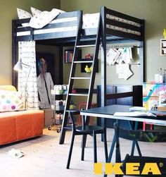 Two Tone White And Brown Wooden Ikea Loft Bed With Ladder Also 6 Column Book Shelf For Small Space Twin Bedroom Furniture