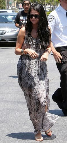 Selena Gomez wore the silk-chiffon Ella Moss Stained Glass Maxi Dress hold hands as they step out on a sunny Sunday (May 27) in Calabasas, Calif.