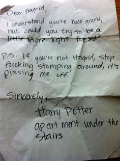 funny pissed off neighbor notes harry potter hagrid
