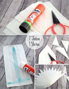 {diy} Sterne aus Butterbrotpapier und Tapete step by step instructions star made of butter paper How To Make Christmas Tree, Merry Little Christmas, Christmas Paper, Christmas Time, Diy Crafts For Kids, Christmas Crafts, Christmas Decorations, Diy Projects To Try, Craft Projects