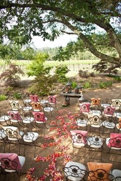Outdoor wedding ceremony set up- love these chairs & the pillows. Love the table