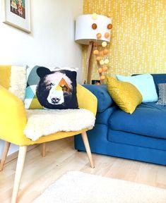 Lybstes näht Kissen in Senfgelb und Mint, Wohnzimmer dekorieren Sofa, Couch, Love Seat, Mint, Rooms, Furniture, Home Decor, Decorating Living Rooms, Pillows