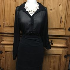 Sheer Blouse with Beautiful Lace Back Only one button missing near bottom. If you wear with high waisted pants or skirt you can not tell. Could also take button from sleeve and replace it with another. Antilia Femme Tops Blouses