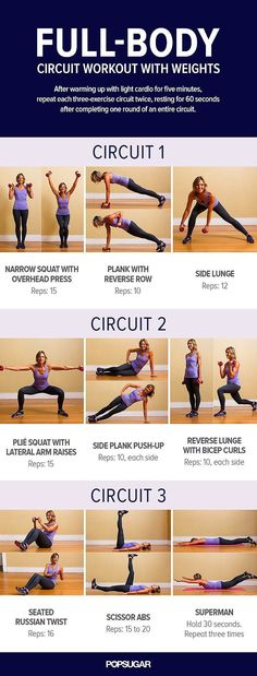 This three-exercise circuit workout plan will tone up your entire body. All you need is some weights to get started!