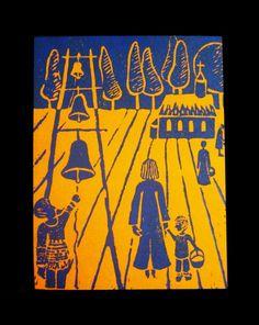 Wielkanoc, linocut 2002  #linocut #linoryt #print #printing #druk #drukowanie #uljado