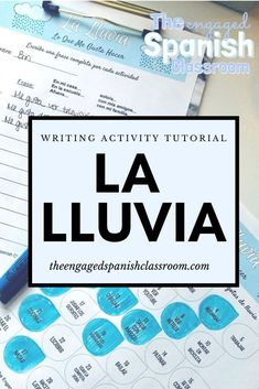 La Lluvia is a writing activity meant to provide ample opportunity for differentiation and student choice within your middle or high school Spanish classroom. Students are provided with a variety of choices within the raindrops, and follow the prompts to construct their own unique sentences on the response sheet. Click through for a tutorial and more details about this activity! High School Activities, Spanish Activities, Vocabulary Activities, Class Activities, Writing Activities, Spanish Games, Class Games, Spanish 1, Learn Spanish