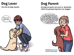 Dog Parent vs Dog Lover   This is GREAT    Being a Dog Parent means loving your dog more than any other dog in the whole world.....except for your other dogs that is.