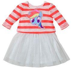 My Little Pony Toddler Girls' Striped Long Sleeve Dress - Pink