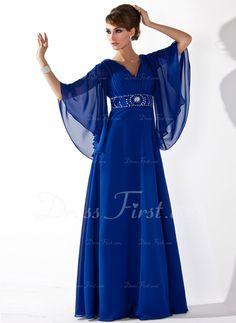 Corte A/Princesa Escote en V Hasta el suelo Gasa Vestido de madrina con Volantes Cuentas Lentejuelas (008005706)