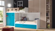 Raised bed with cupboards underneath Teen Girl Bedding, Cool Kids Bedrooms, Childrens Beds, Smart Furniture, Cozy Bed, Small Rooms, Bunk Beds, Loft Beds, Locker Storage