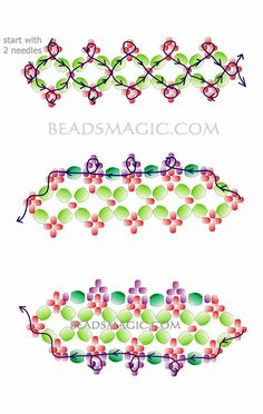 Free pattern for bracelet Aphrodite - 2 U need: seed beads 11/0 faceted beads 4-5 mm