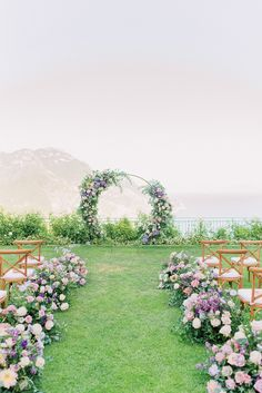Not Your Everyday Wedding Color Palette With The Amalfi Coast As The Backdrop! Not Your Everyday Wedding Color Palette With The Amalfi Coast As The Backdrop! Purple And Green Wedding, Purple Wedding Flowers, Floral Wedding, Wedding Colors, Modern Wedding Flowers, Pink Flowers, Wedding Ceremony Decorations, Backdrop Wedding, Wedding Ideas