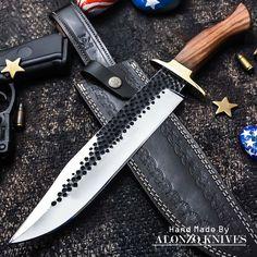 ALONZO KNIVES USA CUSTOM HANDMADE TACTICAL BOWIE 1095 KNIFE BURL WOOD 1234 #AlonzoKnives